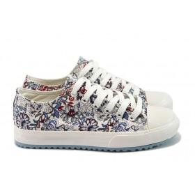 Равни дамски обувки - висококачествен текстилен материал - тъмносин - EO-8152