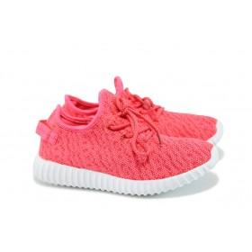 Дамски маратонки - висококачествен текстилен материал - розови - EO-8346
