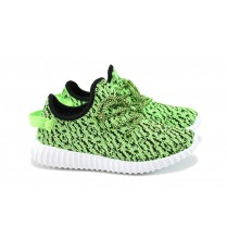 Дамски маратонки - висококачествен текстилен материал - зелени - EO-8348