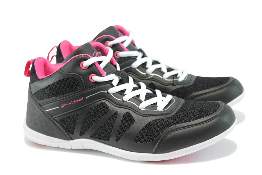 Дамски маратонки - висококачествена еко-кожа - черни - EO-8349