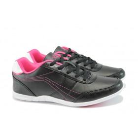 Дамски маратонки - висококачествена еко-кожа - черни - EO-8350