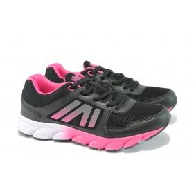 Дамски маратонки - висококачествен текстилен материал - черни - EO-8351