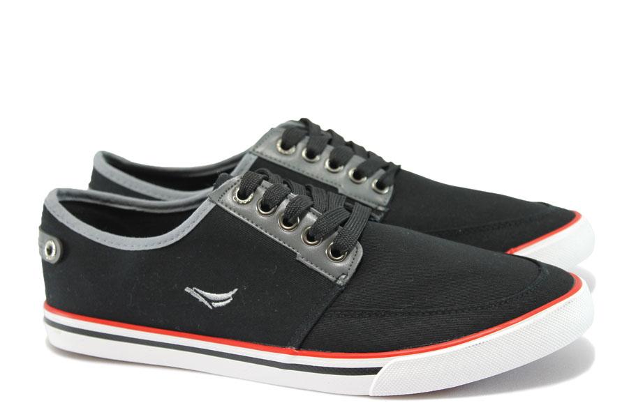Спортни мъжки обувки - висококачествен текстилен материал - черни - EO-10234