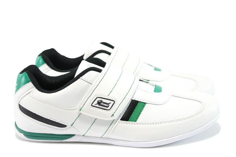 Спортни мъжки обувки - висококачествена еко-кожа - бели - EO-8383