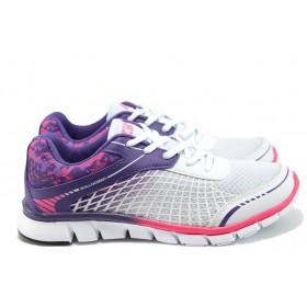 Дамски маратонки - висококачествен текстилен материал - бели - EO-8477