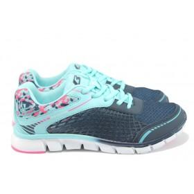 Дамски маратонки - висококачествен текстилен материал - сини - EO-8478