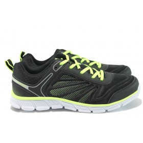 Мъжки маратонки - висококачествен текстилен материал - черни - EO-8480