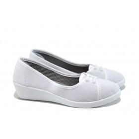 Дамски обувки на платформа - висококачествен текстилен материал - бели - EO-8569