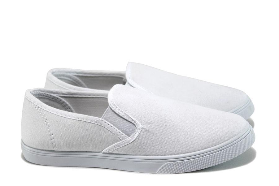 Юношески маратонки - висококачествен текстилен материал - бели - EO-8571