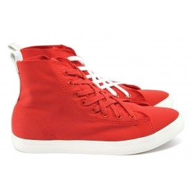 Дамски кецове - текстилен материал - червени - EO-8885