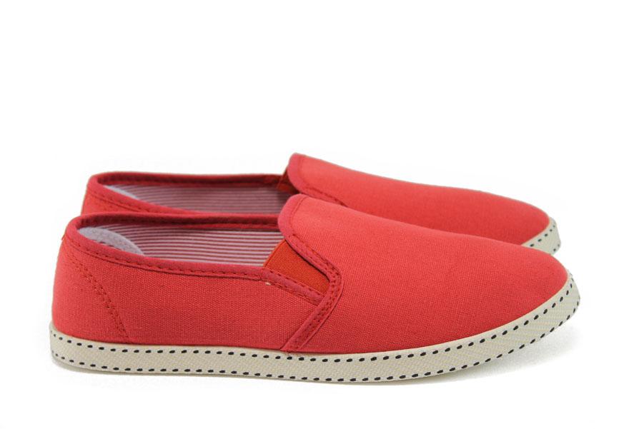 Юношески маратонки - висококачествен текстилен материал - червени - EO-8974