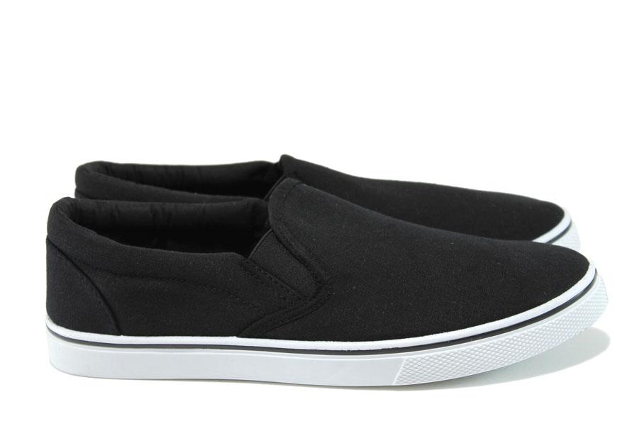 Спортни мъжки обувки - висококачествен текстилен материал - черни - EO-8970