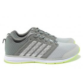 Мъжки маратонки - еко-кожа с текстил - сиви - EO-8968