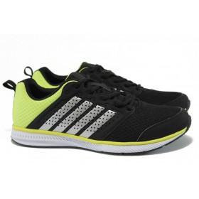 Мъжки маратонки - еко-кожа с текстил - черни - EO-8969