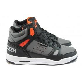 Спортни мъжки обувки - висококачествена еко-кожа - черни - EO-9218