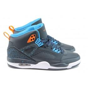 Спортни мъжки обувки - висококачествена еко-кожа - сини - EO-9219