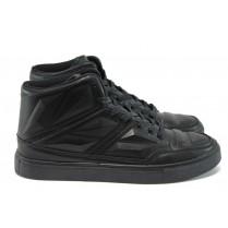 Спортни мъжки обувки - висококачествена еко-кожа - черни - EO-9221