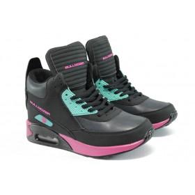 Дамски маратонки - висококачествена еко-кожа - черни - EO-9233
