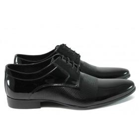 Елегантни мъжки обувки - естествена кожа-лак - черни - EO-8179