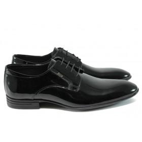 Елегантни мъжки обувки - естествена кожа-лак - черни - EO-8181