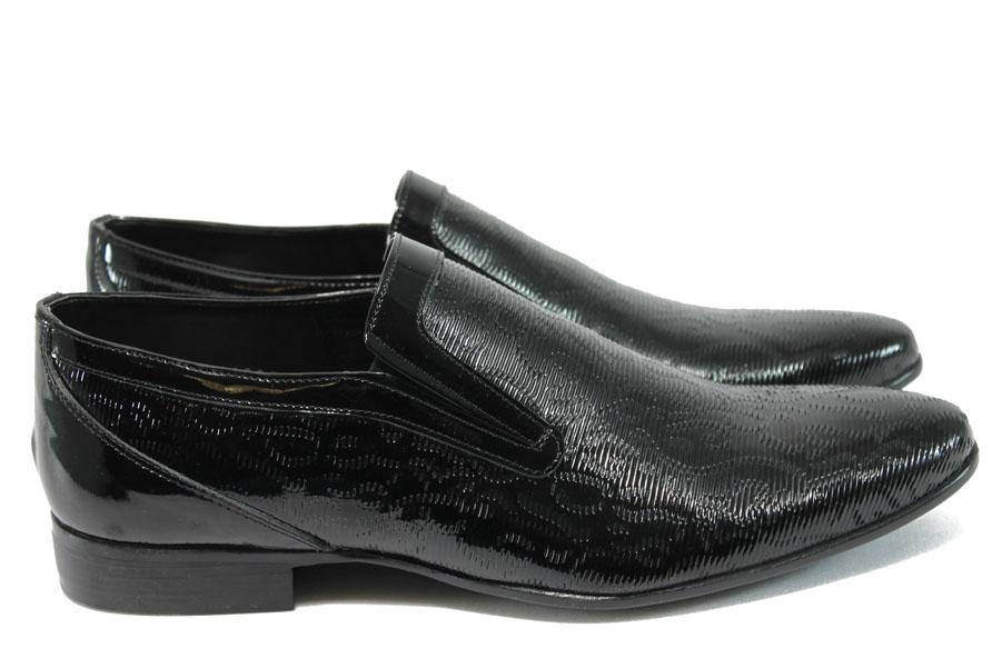Елегантни мъжки обувки - естествена кожа-лак - черни - EO-8182