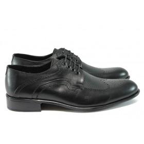 Елегантни мъжки обувки - естествена кожа - черни - EO-8309