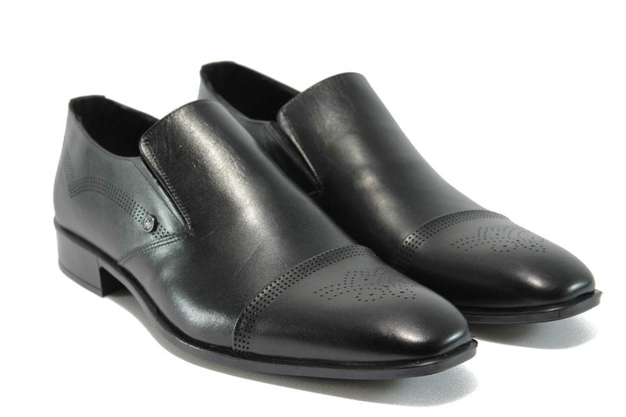 Елегантни мъжки обувки - естествена кожа - черни - EO-8310