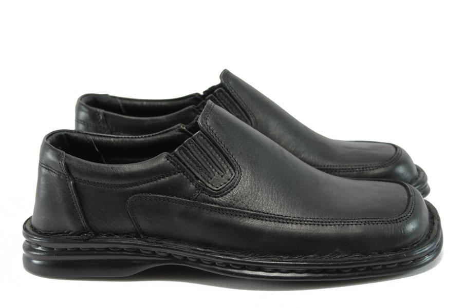 Мъжки обувки - естествена кожа - черни - EO-8354