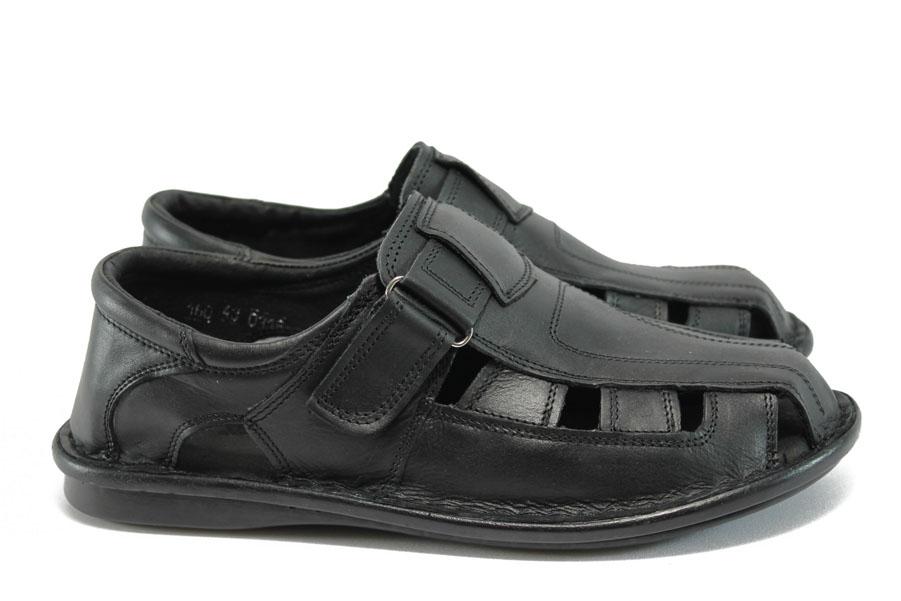 Мъжки сандали - естествена кожа - черни - EO-8371