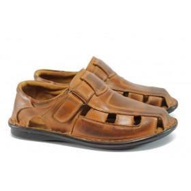 Мъжки сандали - естествена кожа - кафяви - EO-8372