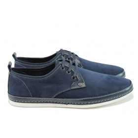 Мъжки обувки - естествен набук - сини - EO-8386