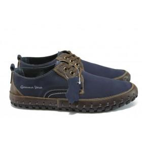 Мъжки обувки - естествен набук - сини - EO-8515