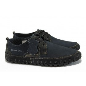 Мъжки обувки - естествен набук - тъмносин - EO-8555