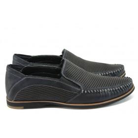 Спортно-елегантни мъжки обувки - естествена кожа - тъмносин - EO-8578