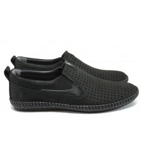 Мъжки обувки - естествена кожа - черни - EO-8580