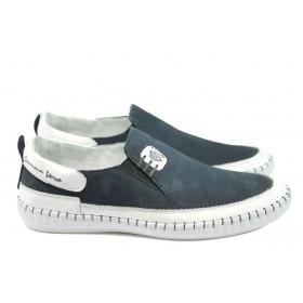 Мъжки обувки - естествен набук - сини - EO-8654