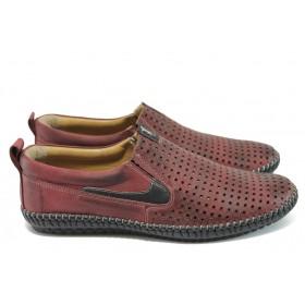 Мъжки обувки - естествена кожа - бордо - EO-8682