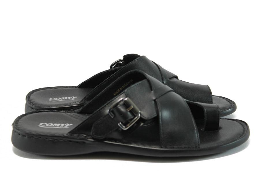 Мъжки чехли - естествена кожа - черни - EO-8720