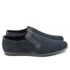 Мъжки обувки - естествена кожа - сини - EO-8729