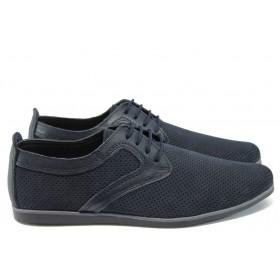 Мъжки обувки - естествена кожа - тъмносин - EO-8732