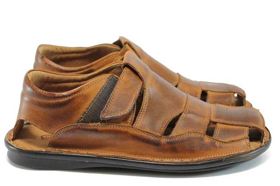 Мъжки сандали - естествена кожа - кафяви - EO-8791