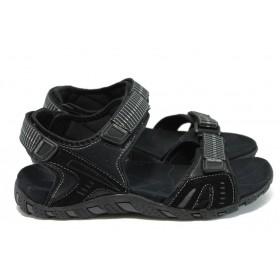 Мъжки сандали - висококачествена еко-кожа - черни - EO-8890