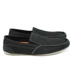 Мъжки обувки - естествен набук - черни - EO-8899