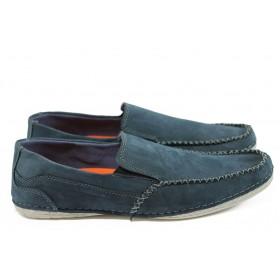 Мъжки обувки - естествен набук - сини - EO-8900