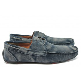 Мъжки обувки - естествен набук - сини - EO-8902