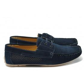 Мъжки обувки - естествен набук - тъмносин - EO-8903