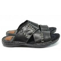 Мъжки чехли - естествена кожа - черни - EO-8908