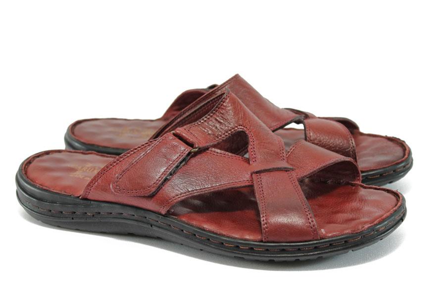 Мъжки чехли - естествена кожа - бордо - EO-9009
