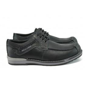 Мъжки обувки - естествена кожа - черни - EO-9249