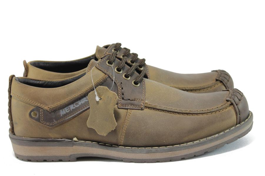 Мъжки обувки - естествена кожа - кафяви - EO-9250